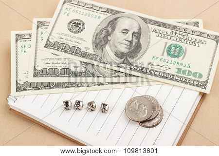 Dollars, Coins And Notes.