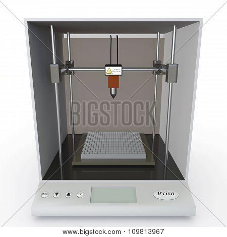 Model 3D Printer On White Background