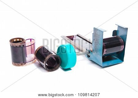 Film Strip And Holder For Strip On White Background.