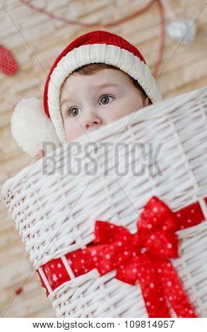 Happy Toddler Santa Peeking