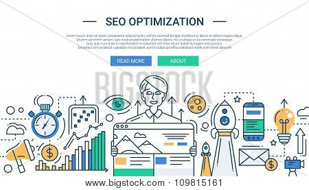 Illustration of modern SEO optimization line flat design composition and infographics elements with