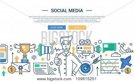 Illustration of modern social media promotion line flat design composition and infographics elements