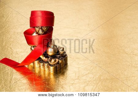 Monkey The Symbol Of The Chinese New Year 2016,  And Red Ribbon