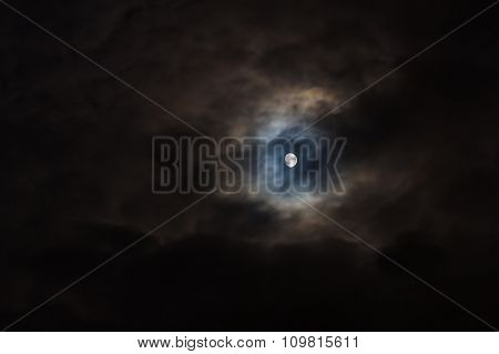 Moon On Black Cloudy Sky, Background