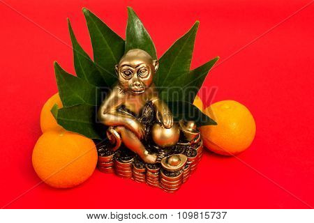 Monkey  The Symbol Of The Chinese New Year 2016, And Mandarins