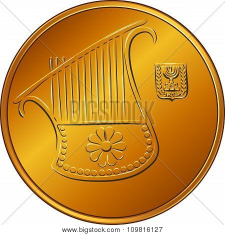 Vector Gold Israeli money half-shekel coin