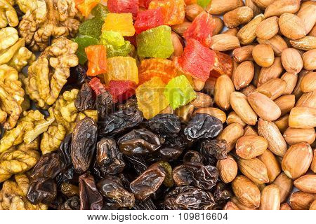 Mix Of Nuts And Dry Fruits, Background, Close-up
