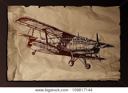 Vector Illustration Of Old Plane