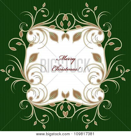 Green Christmas Greeting Card Background With Flourish Pattern