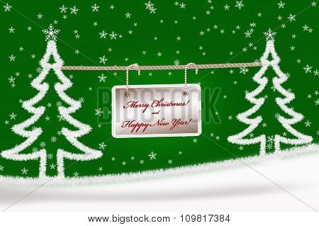 Green Christmas Greeting Card Background With Fir Trees