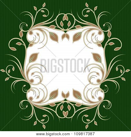 Holiday Greeting Card Background With Flourish Pattern On Green