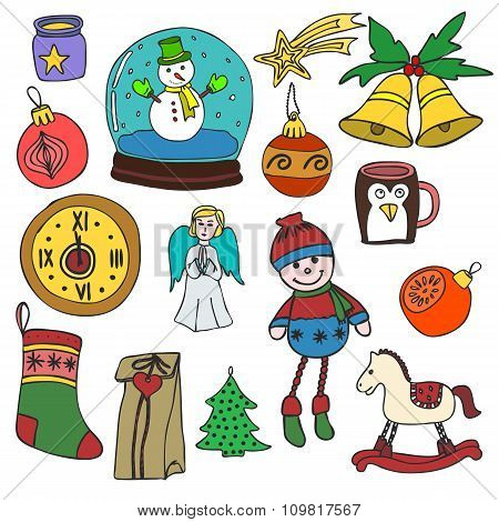 Winter,New year, Christmas outline icons set. Decorative elements for winter holidays for design.