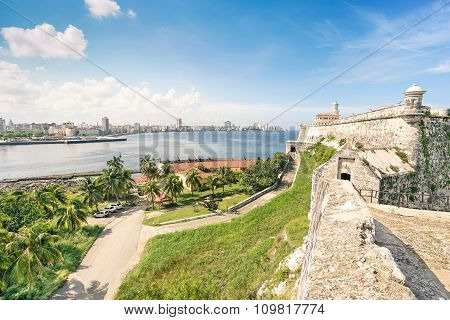 HAVANA, CUBA - NOVEMBER 19, 2015:  Skyline From Fortress Of