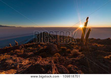 The Rising Sun Over Uyuni Salt Flat, Bolivia