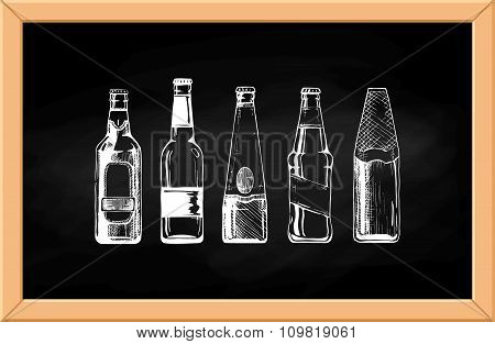 Beer Set On Blackboard.