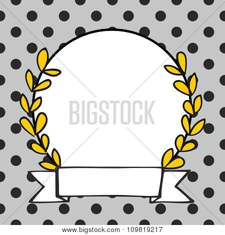 Laurel wreath vector photo frame with black polka dots on grey background
