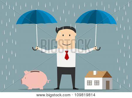 Businessman holds umbrellas over house and piggy bank