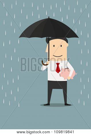 Businessman protecting money with umbrella