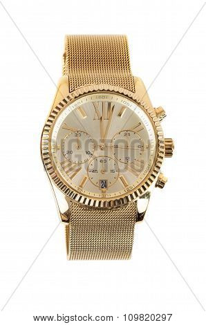 Womens Gold Watch On White Background