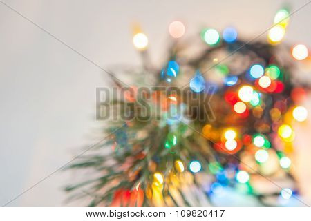 Defocused Christmas Lights And Pine Branch Background