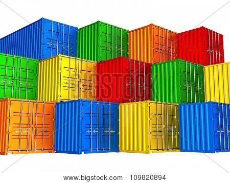 Colorful Stacked Cargo Containers