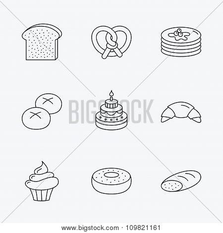 Croissant, pretzel and bread icons. Cupcake.