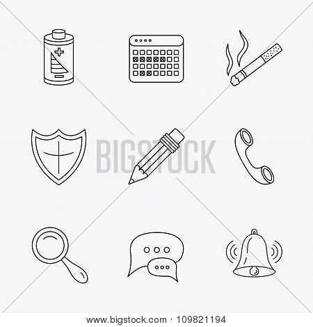 Chat speech bubbles, bell and pencil icons.