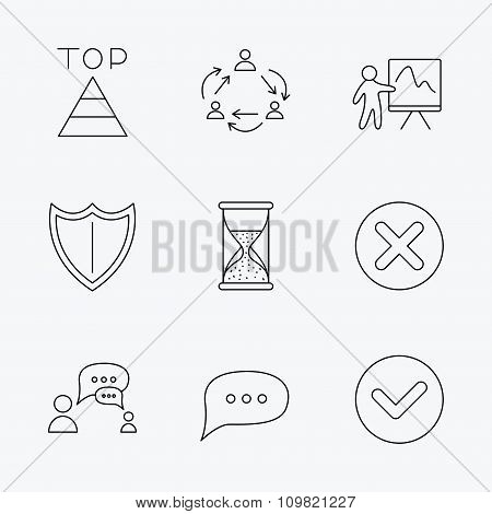 Teamwork, presentation and dialog icons.