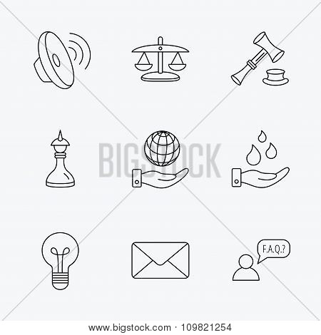 Strategy, auction and scales of justice icons.