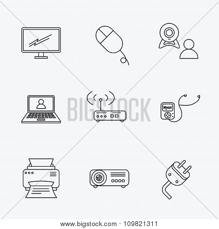 Printer, wi-fi router and projector icons.