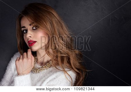 Beauty Portrait Of Girl With Long Hair.