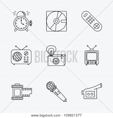 Microphone, video camera and photo icons.