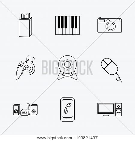 Smartphone, web camera and USB flash icons.