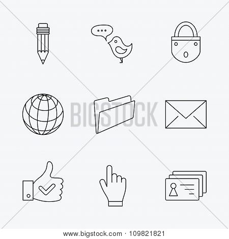 Pencil, press hand and world globe icons.
