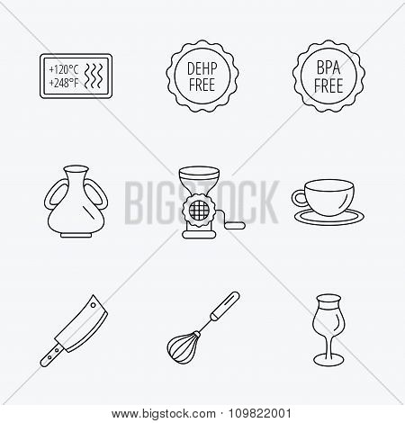 Coffee cup, butcher knife and wineglass icons.