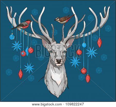 deer head with horns, birds and christmas decor
