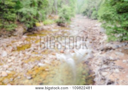 Defocused Background Of River And Rocks At Yosemite National Park