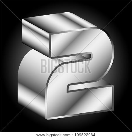 3d Metal silver Two 2 Vector