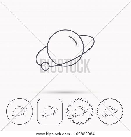 Planet icon. World globe sign.
