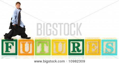 Boy On Giant Alphabet Blocks