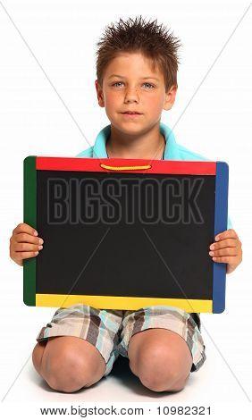 Happy Boy With Chalkboard
