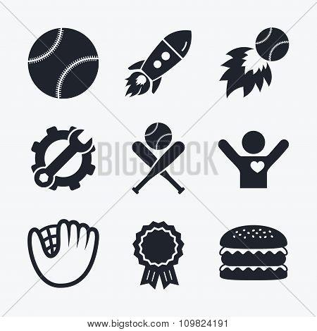 Baseball icons. Ball with glove and bat symbols.