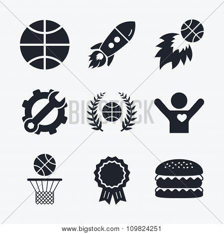 Basketball icons. Ball with basket and fireball.