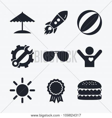 Beach holidays icons. Umbrella and Sunglasses.