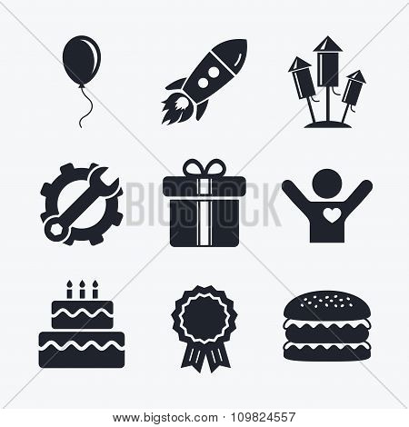 Birthday party icons. Cake and gift box symbol