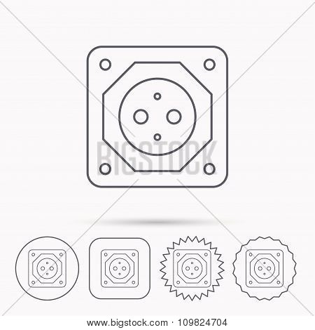 European socket icon. Electricity power adapter.