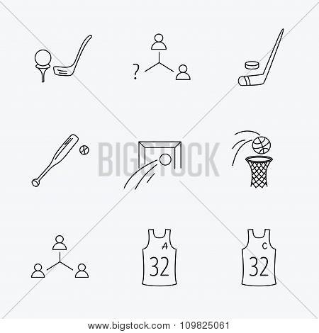 Soccer, ice hockey and baseball icons.