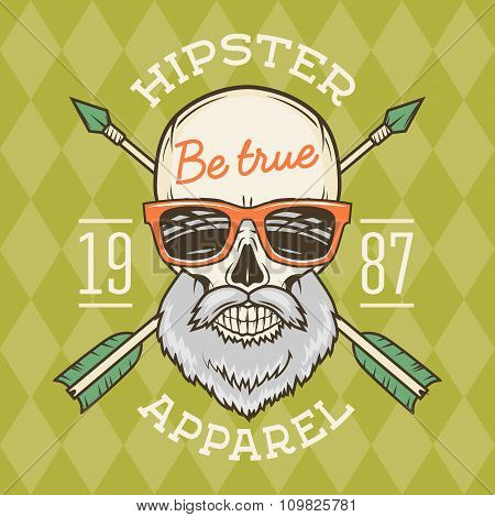 Vintage True bearded Hipster skull vector with geek sunglasses and crossed arrows. Crazy deadman ins