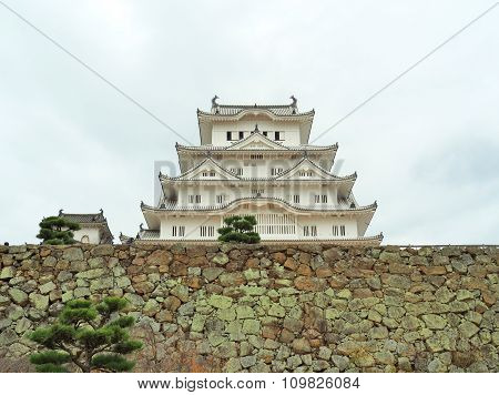 Himeji Castle on stone wall located in Himeji, Hyogo Prefecture, Japan.
