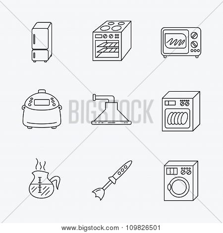 Microwave oven, washing machine and blender.